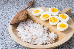 Boiled eggs with rice Stock Image