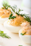 Boiled Eggs with Salmon Cream for Easter Boiled E Royalty Free Stock Images
