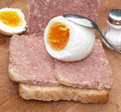 Boiled eggs with salt Stock Photography
