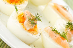 Boiled eggs with salted salmon Stock Photos
