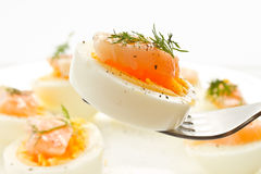 Boiled eggs with salted salmon Stock Image
