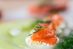 Boiled eggs with salted salmon Stock Photography