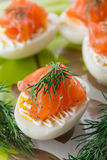 Boiled eggs with salted salmon Stock Images