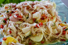 Boiled eggs spicy salad. One of thai food is hot and spicy but good for your healty Stock Image
