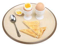 Boiled Eggs & Toast. Two boiled eggs with buttered toast Royalty Free Stock Image