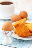 Boiled eggs and toasts for breakfast Royalty Free Stock Image