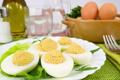 Boiled eggs with tuna sauce Stock Images