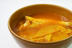 Boiled fish with bamboo shoot in spicy and sour soup. Thai food Royalty Free Stock Images