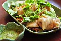 Boiled fish dip. Thai style food Royalty Free Stock Photography