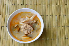 Boiled fish egg with mushroom spicy and sour soup in bowl Stock Photo