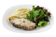 Boiled fish with mashed potato Stock Image