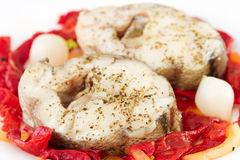 Boiled fish with pepper Royalty Free Stock Photo