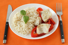 Boiled fish pepper and rice Stock Photo