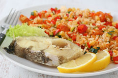 Boiled fish with rice Royalty Free Stock Image