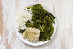 Boiled fish with rice and kale. On white plate royalty free stock photos