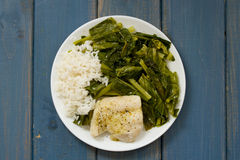 Boiled fish with rice and kale Royalty Free Stock Photography