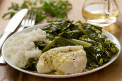 Boiled fish with rice and kale on white plate Stock Photos