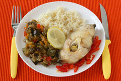 Boiled fish with rice and vegetables Royalty Free Stock Image