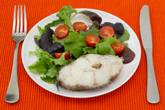 Boiled fish with salad Stock Photo