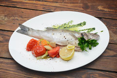 Boiled fish-seafood Stock Photo