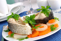 Boiled fish with vegetables Royalty Free Stock Images