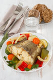 Boiled fish with vegetables Stock Photos