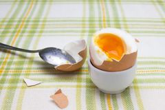 Boiled fresh smash broken egg for the breakfast on the porcelain stand for eggs. Broken beige hen egg and pieces of shells, bright. Liquid orange yolk in the royalty free stock images