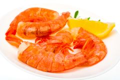 Boiled-frozen prawns for cooking Stock Image