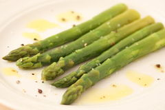 Boiled green asparagus Royalty Free Stock Image