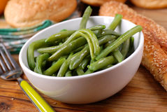 Boiled green beans. Salad of green beans in white bowl Stock Images