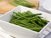 Boiled green beans in white  bowl Stock Photos