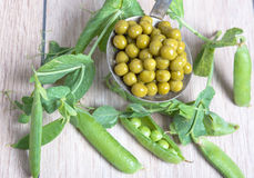 Boiled green peas, pods and branches Royalty Free Stock Images