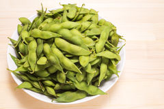 Boiled green soybeans Stock Images
