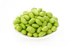 Boiled green soybeans seeds Royalty Free Stock Image