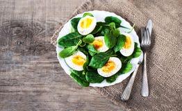 Boiled ha diviso in due le uova sul piatto decorato con il isolat delle foglie degli spinaci Immagine Stock Libera da Diritti