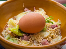 Boiled of the Instant noodles with Boiled eggs. Royalty Free Stock Photography