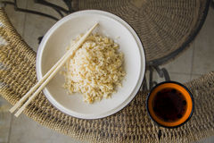 Boiled japan rice on straw background Stock Images