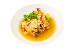 Boiled king prawns with garlic Royalty Free Stock Photo