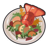 Boiled lobster with garnish. Vector  Stock Image