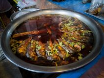 Boiled mackerel in a pot sold in a Thai restaurant. At Thailand stock photo