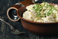 Boiled meat dumplings in big dish with cream Stock Photo