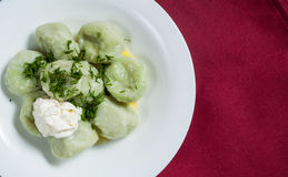 Boiled meat dumplings served with sour cream and dill. Traditional Russian pelmeni. Top view Stock Images