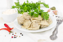 Boiled meat dumplings with sprig of parsley in white plate stock image