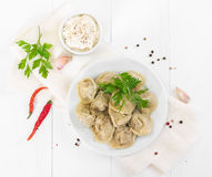 Boiled meat dumplings with in white plate. Top view. royalty free stock image