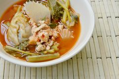 Boiled mixed vegetable and fish egg in Thai spicy soup on bowl. Boiled mixed vegetable and fish egg in Thai spicy soup on the bowl Stock Photos