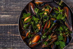 Boiled Mussels In Pan Cooking Dish. Stock Photo