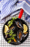 Boiled mussels with lemon and parsley in an enamel pot Royalty Free Stock Photography