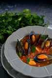 Boiled mussels soup on a grey plate. Closeup, vertical layout stock photo