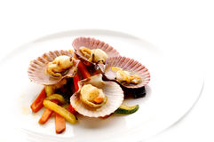 Boiled mussels with vegetable Stock Photography