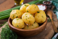 Boiled new potatoes seasoned with dill Royalty Free Stock Photo
